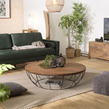 Table basse coque noire 120x120cm bois Teck...