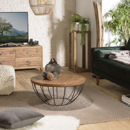 Table basse bois coque noire 80 x 80 cm