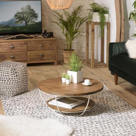 Table basse bois coque blanche double plateau...
