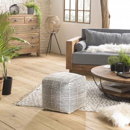 Pouf carré en laine Oslo noir et ivoire