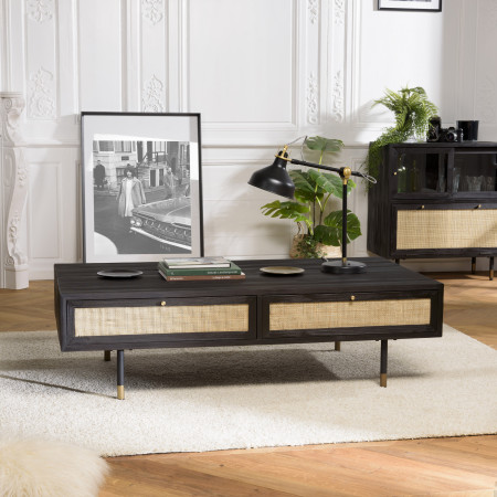 Table basse noire 4 tiroirs cannage