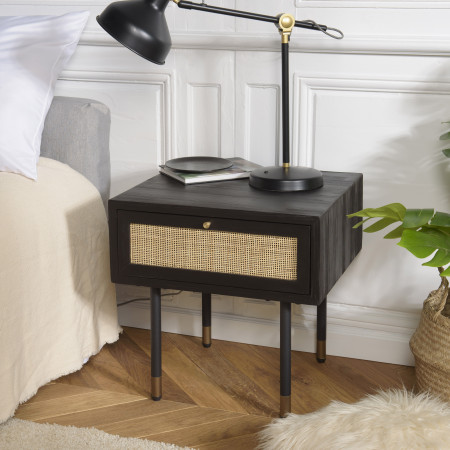 YANIS - Chevet noir bois Pin 1 tiroir cannage