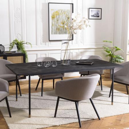 Table à manger noire 200 x 100 cm pin vieilli
