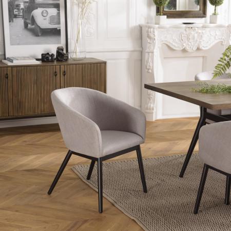 Lot de 2 chaises gris perle pieds métal