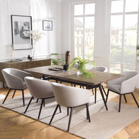 Table à manger 200x100cm Acacia pieds métal