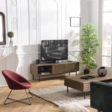 Meuble TV 2 portes 1 niche Acacia pieds métal
