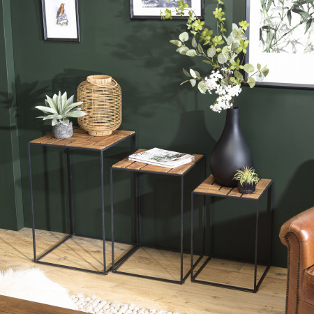 ALIDA - Set de 3 tables d'appoint gigogne...