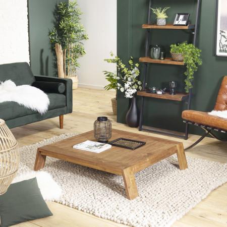 ALIDA - Table basse carrée marron 115x100cm...