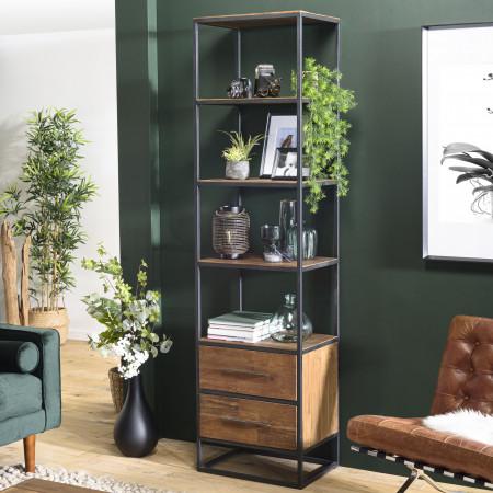 ALIDA - Bibliothèque haute marron 2 tiroirs 4...