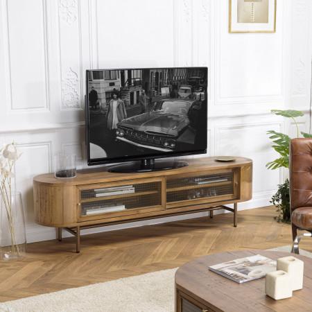 Meuble TV couleur naturel 2 portes coulissantes...