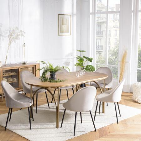 Table à manger bois 180x90cm couleur naturel