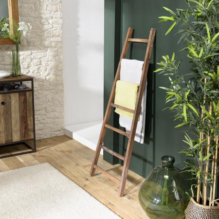 ALIDA - Porte serviettes marron bois teck recyclé