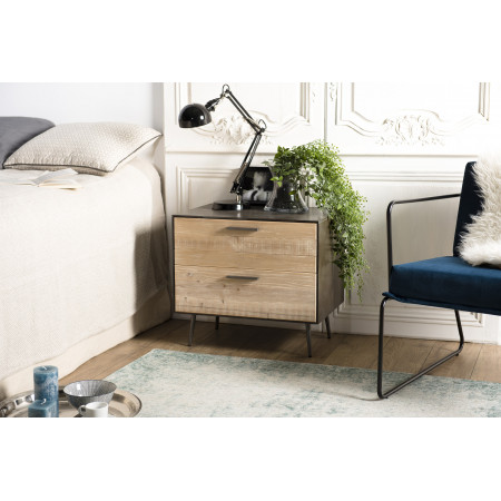CLEMENCE - Chevet 2 tiroirs bois Sapin et pieds...