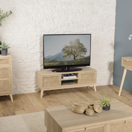 ALICIA - Meuble TV 2 portes 2 niches cannage...