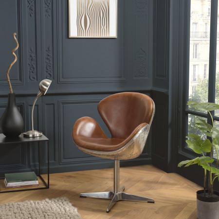 GASTON - Fauteuil marron NEVADA vintage cuir...