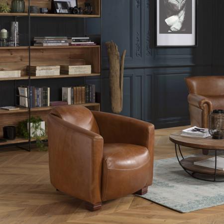 GASTON - Fauteuil marron CHICAGO vintage cuir...