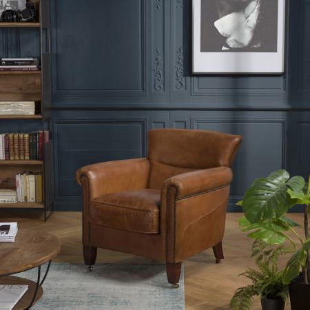 GASTON - Fauteuil marron VERONE vintage cuir...