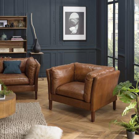 GASTON - Fauteuil marron MILANO vintage cuir 1...
