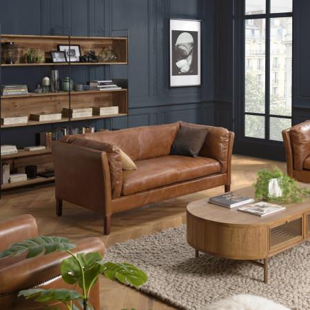GASTON - Canapé marron MILANO vintage cuir 3...