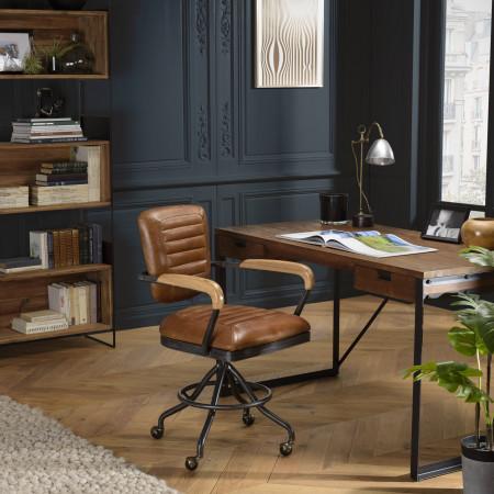 GASTON - Fauteuil DESK vintage cuir marron et...