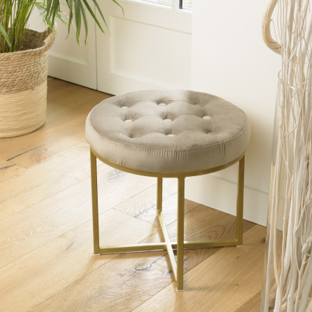 ALBANE - Tabouret rond 41x41cm velours taupe...