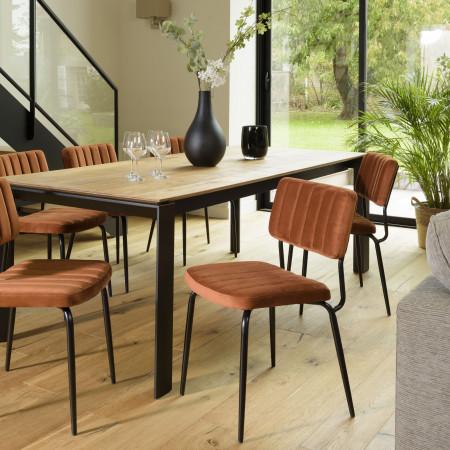 ALBANE - Chaise velours orange pieds métal noir